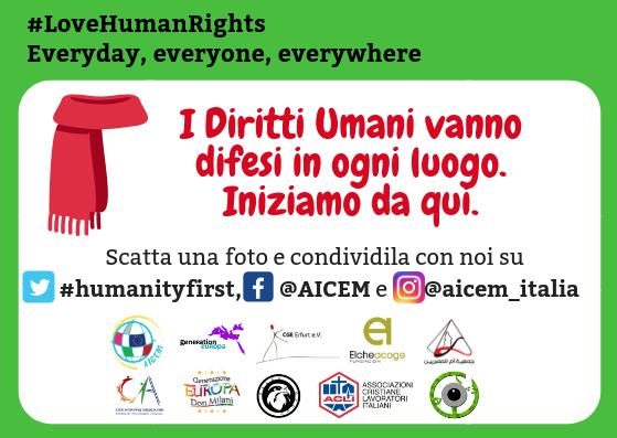 """Aicem: """"Diritti umani in viaggio. Una sciarpa per ogni città"""""""